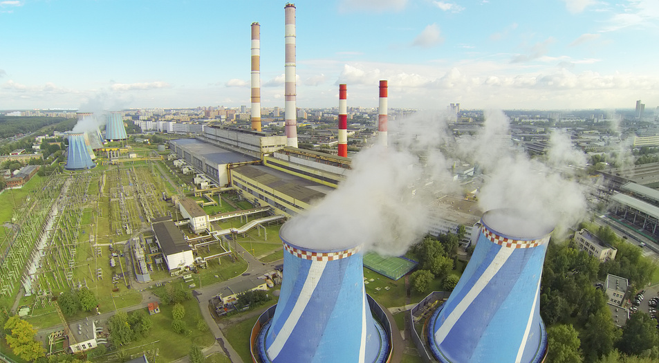 Central Heating and Power Plant at day. View from unmanned quadrocopter.